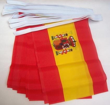 AZ FLAG Guirnalda 4 Metros 20 Banderas de ESPAÑA 15x10cm - Bandera ESPAÑOLA 10 x 15 cm - BANDERINES