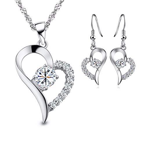 Kim Johanson Heidi - Juego de joyas para mujer de acero inoxidable, collar con colgante y pendientes con circonitas, incluye bolsa de regalo