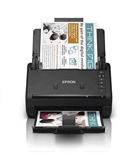 Epson WorkForce ES-500WII, Scanner A4 WiFi Fronte Retro ad Alta Velocità su Smartphone, Tablet, PC o Mac, Duplex Automatico e ADF, Funzioni Automatiche di Ritaglio e Rimozione di Pagine Bianche Sfondi