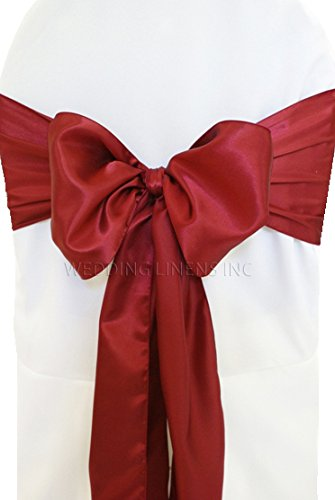 "Wedding Linens Inc. (10 PCS) 7.5"" x 108"" Satin Chair Sashes Bow Sash Chair Bows Ties for Wedding Decoration Party Banquet Events - Burgundy"