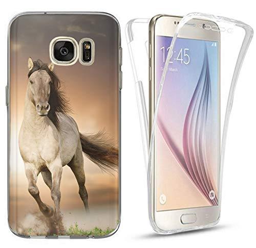 CoverHeld Hülle für Samsung Galaxy A5 2016 Premium Handyhülle 1005 Pferd Braun Weiß Hengst Silikon Fullbody 360 Grad R&um SchutzHülle Softcase HandyCover Hülle für Samsung Galaxy A5 2016