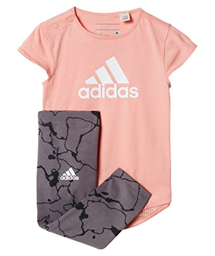 adidas Kinder I Girls Set Trainingsanzug, Weiß/Suabri/Blanco, 80