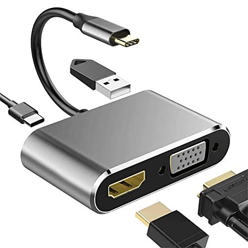 WILHOMENA USB-C HDMI Tipo C a 4K HDMI Adaptador VGA USB 3,0 Audio convertidor de vídeo de 87W Cargador rápido para Macbook Pro Samsung S9 S10