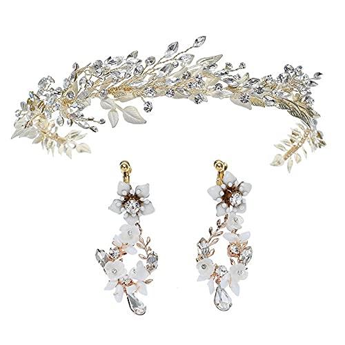 Conjunto de aretes de diadema nupcial con diamantes de imitación europeos y americanos, accesorios para vestidos de novia hechos a mano, correa rubia clara D2394