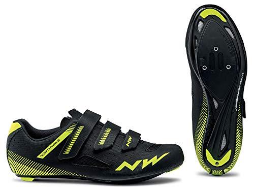 Northwave Core Zapatos de Bicicleta Negro/Amarillo Fluo, Tamaño:gr. 45