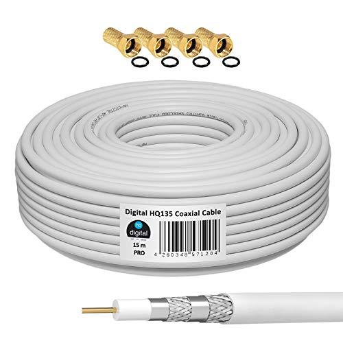 HB-DIGITAL 15m Koaxialkabel HQ-135 Antennenkabel 135dB SAT Kabel 8K 4K UHD 4-Fach geschirmt für DVB-S / S2 DVB-C / C2 DVB-T / T2 DAB+ Radio BK Anlagen + 4 F-Stecker GRATIS