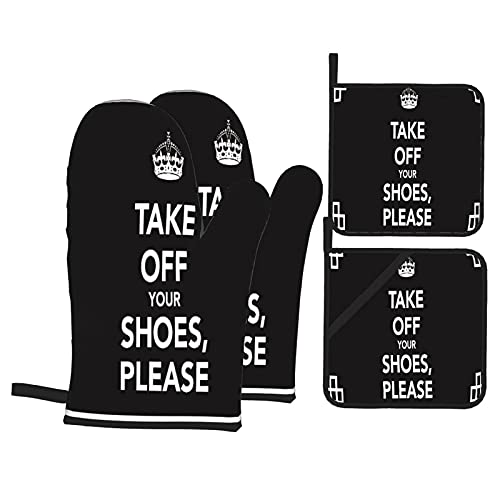 Simple Crown TAKE Off Your Shoes,Please Heat Resistant Kitchen Oven Mitts, with Non-Slip Oven Proof Gloves And Pot Holders for Housewares Cooking Baking Microwave Grilling