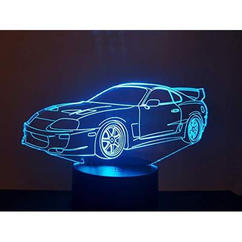 TOYOTA SUPRA, Lampada illusione 3D con LED - 7 colori.