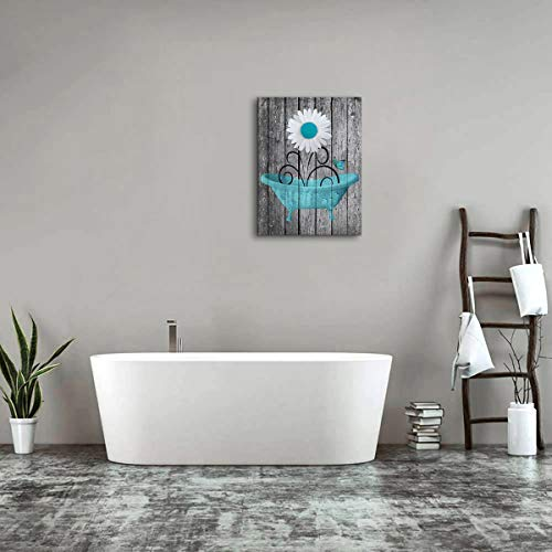 Bathroom Wall Art Daisy Canvas Pictures Modern Flower Bathtube Artwork Rustic Wood Board Background Contemporary Wall Art Decor Bedroom Living Room Office Home Framed Ready to Hang Blue 12