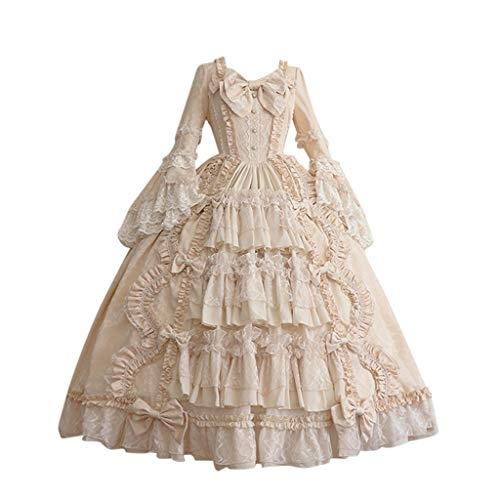Huacat Damen Mittelalter Kleid Retro Gothic Court Kleid Renaissance Kleid Lace Panel Irish Dress Mittelalter Kostüm Minikleid Cosplay Kleid