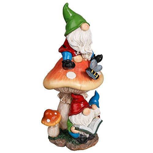TERESA'S COLLECTIONS Figura da Giardino Gnomo da Giardino Seduto su Un Fungo e Leggendo, 32 cm Gnomo da Giardino Decorazione Statuetta da Giardino Nano per Esterno, Statue da Giardino
