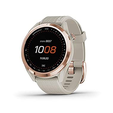 Garmin Approach S42, GPS Golf Smartwatch, Lightweight with 1.2″ Touchscreen, 42k+ Preloaded Courses, Rose Gold Ceramic Bezel and Tan Silicone Band, 010-02572-12