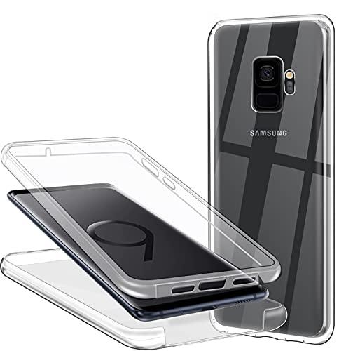 CHIMUCO Funda para Samsung Galaxy S9, 360 Grados Carcasa Transparente Ultrafino Silicona TPU Frente y PC Back Case Protección Integral Funda de Doble Protección - Transparente