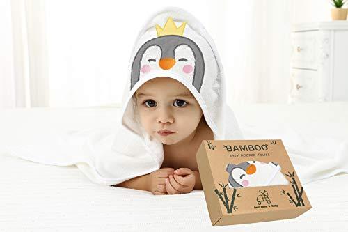 Pengiun Baby Kapuzenhandtuch, sehr weich, 100 % Bambus, Größe L, 90 x 90 cm, sehr strapazierfähig, 500 g/m², Geschenkbox für Mädchen, Jungen, Babys, Neugeborene, Kleinkinder und Kinder