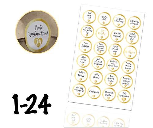 TK Gruppe Timo Klingler Adventskalender Weihnachten Aufkleber Etiketten Sticker Zahlen Buttons 1-24 selbstklebend zum basteln (Edition 4)
