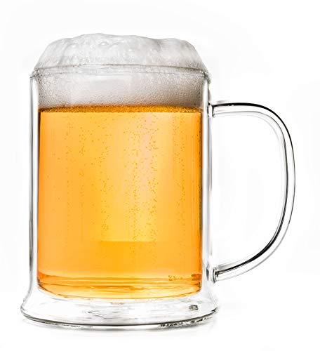 Creano Bicchiere da Birra a Doppia Parete, Vetro Termico Bicchiere da Birra, Boccale da Birra   500ml