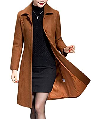 Jenkoon Women's Wool Trench Coat Winter Long Thick Overcoat Walker Coat (Caramel, Medium) from