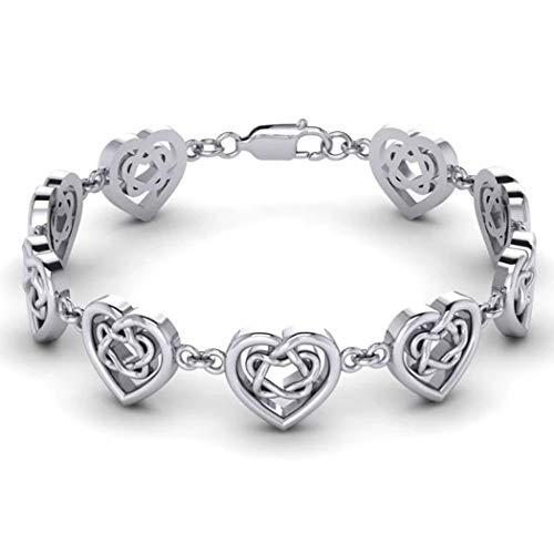 US Jewels 925 Sterling Silver Celtic Knotwork And Hearts Link Bracelet, 7.5'