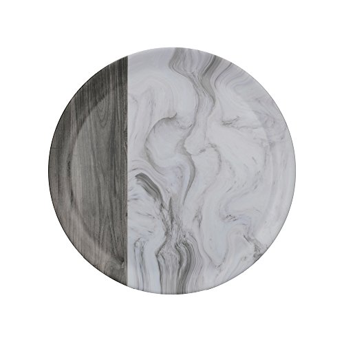 Creative Tops Plateau rond en mélamine avec impression décorative Blanc/marron 36 cm