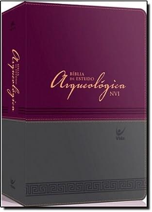 Bíblia de Estudo Arqueológica NVI. Capa Luxo Vinho e Cinza