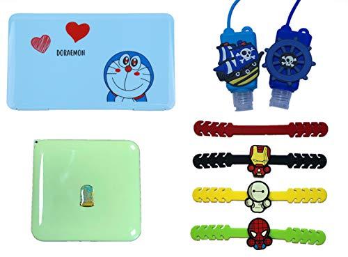 BACK TO SCHOOL Custodia Rigida per Mascherina Porta Mascherina per Borsa, Organizer Borsa, Kids Mask Case Bag (8pcs Blue A:Blue Doraemon+Green Squared case+4 mask hooks+2 Silicon Bottle Case A)