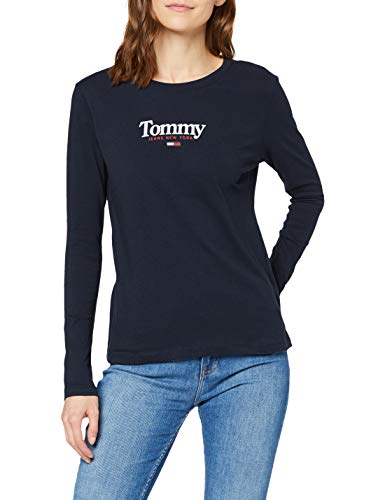 Tommy Jeans Tjw Essential Logo Longsleeve Chemise, Twilight Navy, XS Femme