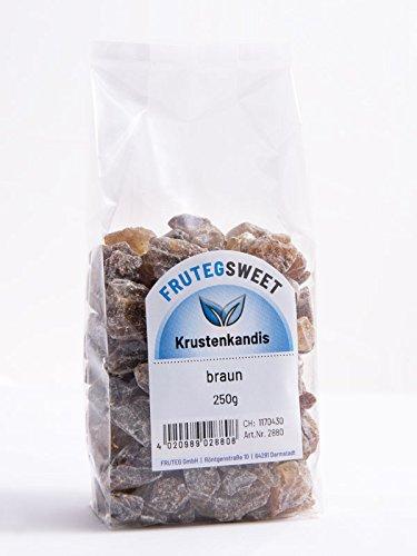 FRUTEG Krusten-Kandis braun I 5x 250g leckere braune Kluntjes – im Folien-Beutel I brauner Kandis-Tee-Zucker – große…