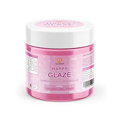 GoodBake Happy Glaze - 300g - gebrauchsfertige Mirror Glaze - Glasur für Torten, Kuchen, Cupcakes - Zuckerguss - Farbe: Sparkling Pink