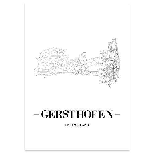 JUNIWORDS Stadtposter - Wähle Deine Stadt - Gersthofen - 60 x 90 cm Poster - Schrift A - Weiß