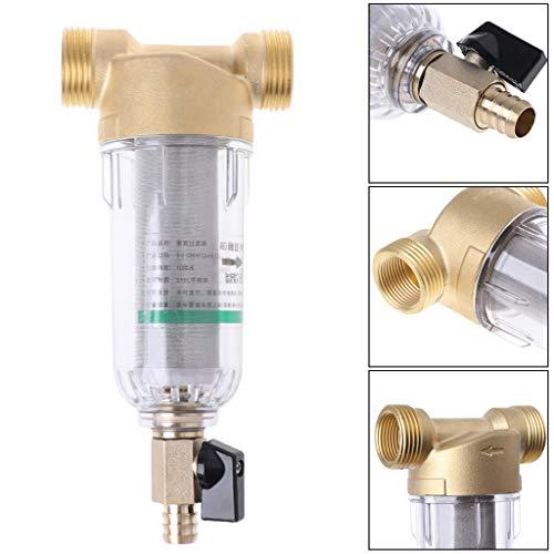 Sunhoyu Edelstahlfilter, 1 Zoll 4 Punkte Vorfilter Edelstahl Wasserfilter Mesh Kupfer Tap Wasserhahn