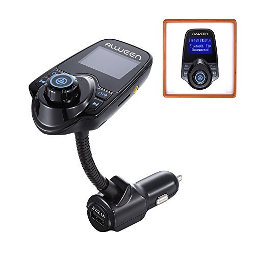 Alween Car Wireless Bluetooth FM Transmitter Kit with Hands-free Calling, USB Charging and Music Controls (All Bluetooth Devices)