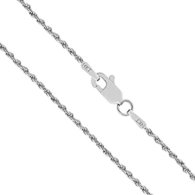 14K Solid White Gold 1mm Rope Chain Necklace