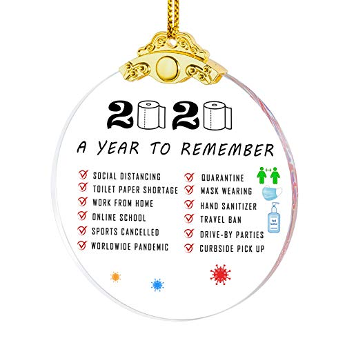 IFOLAINA 2020 Christmas Ornaments Quarantined A Year to Remember Hanging Ornaments Present Friends Survive Novelty Souvenir Christmas Tree Pendant