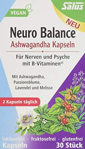Salus Neuro Balance Bio Ashwagandha Kapseln – für Nerven und Psyche mit B Vitaminen – vegan – 30 Kapseln