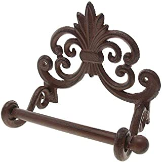 Comfify Fleur De Lis Cast Iron Toilet Paper Roll Holder - Cast Iron Wall Mounted Toilet Tissue Holder - European Victorian Design - 7.9x4.3x6.3 - with Screws and Anchors (Rust Brown)
