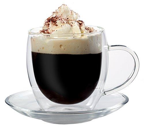 Feelino Bullini edle doppelwandige 250 ml Thermotasse mit Untersetzer, edle Glas-Teetasse/Kaffeetasse mit Schwebeeffekt, Henkel und Untersetzer im Geschenkkarton …
