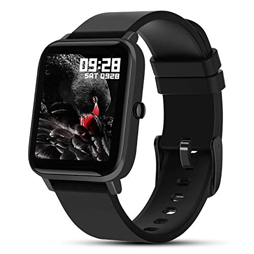 Fullmosa Smart Watch, S3 Rastreador de Actividad Física con Monitor de Frecuencia Cardíaca / SpO2 / Monitor de Salud Femenina, Rastreador de Actividad Impermeable para Mujeres, Hombres, Negro