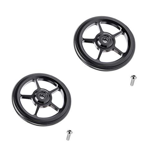 Injoyo 2 Piezas De Bicicleta Easy Wheels 6cm Bicicleta Plegable Easywheel Para Brompton Wheel Black