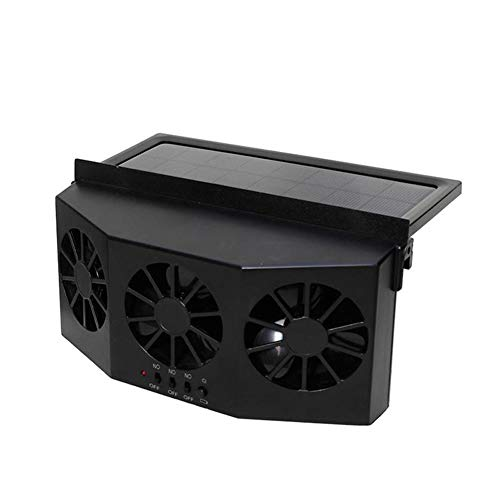 QLING Solar Powered Car Ventilator,Portable Solar Powered Car Exhaust Fan,Car Radiator,Eliminate The Peculiar Smell Inside The Car and Used for General Types of Cars(Black)