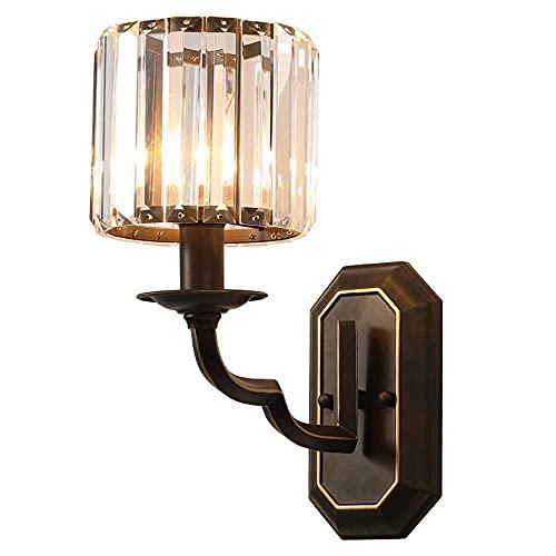 GIOAMH Lámpara de pared de cristal Lámpara de pared interior Aplique de metal vintage simple Lámpara de vidrio para el hogar Habitación para baño Sala de estar Dormitorio Art Deco Hierro Negro E14