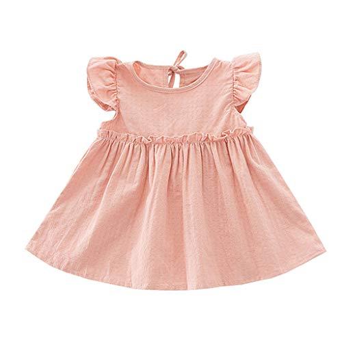 Sunhusing Kids Girls Solid Crew Neck Ruffle Sleeveless High Waist Summer Mini Dress Loose Beach Party Dresses Skirt Pink