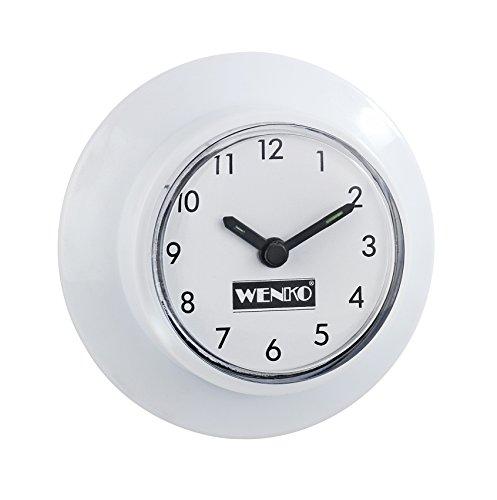WENKO 21823100 Badezimmeruhr mit Saugnapf, 2er Set, Kunststoff, 6 x 2.5 x 6 cm, Weiß