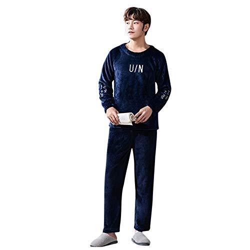 Dihope, conjunto de pijama para hombre, 2 piezas, franela de invierno, camiseta de manga larga, pantalón suave, ropa de noche, forro polar cálido