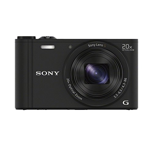 Sony DSC-WX350 Fotocamera Digitale Compatta Travel con Sensore CMOS Exmor R da 18.2 MP, Ottica Sony G 25-500 mm, Zoom Ottico 20x, Video Full HD, Nero