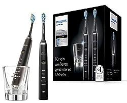 Philips Sonicare DiamondClean Elektrische Zahnbürste Doppelpack HX9357/87, 2 Schallzahnbürsten mit 5 Putzprogrammen, Timer und Ladeglas, schwarz