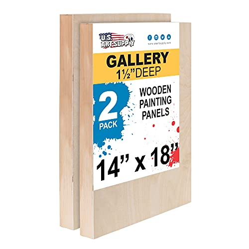 U.S. Art Supply 14' x 18' Birch Wood Paint Pouring Panel Boards, Gallery 1-1/2' Deep Cradle (Pack of 2) - Artist Depth Wooden Wall Canvases - Painting Mixed-Media Craft, Acrylic, Oil, Encaustic