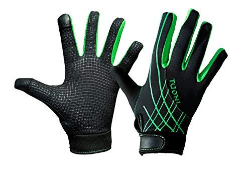 Tuoni Junior Thermal Multi Sport Handschuh mit Silikongriff Ideal für Fußball, Rugby, Hockey, Mountainbike, Radfahren, Laufen und Netball. Mit Touchscreen-Spitzen, Kinder, grün / schwarz, XX-Small