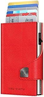 Tru Virtu Porta Carte di Credito Libro Click & Slide Wallet | 24104000505-Red Matt
