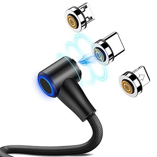 CAFELE 3 in 1 Magnetische Ladekabel 90 Grad, Magnet USB Kabel 200cm, 3A Fast Charger Magnetic Datenkabel Kompatibilität für Samsung S9/S8 Plus/Note 8, Huawei, LG V30/V20 Schwarz Neu