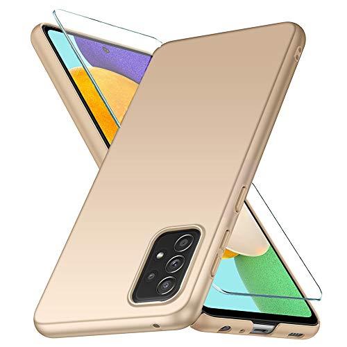 YIIWAY Kompatibel mit Samsung Galaxy A52 4G / 5G Hülle + Panzerglas Schutzfolie, Gold Sehr Dünn Hülle Handyhülle Harte Schutzhülle Hülle Kompatibel mit Galaxy A52 4G / 5G YW42151